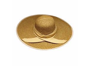 Tan Weaved Wide Brim Floppy Hat With Contrast Trim