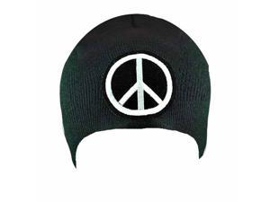 White Peace Sign Black Tight Knit Beanie Cap Hat
