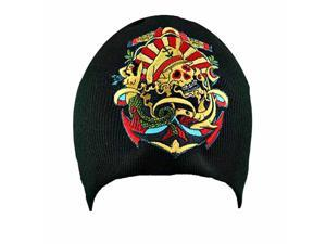 Sailor Skull Tattoo Patch On Black Knit Beanie Cap