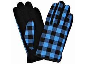 Turquoise & Black Buffalo Check Plaid Gloves