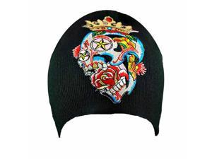 Crowned Skull Tattoo Patch Black Knit Beanie Cap