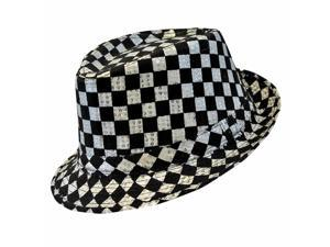Black & Silver Check Pattern Sequin Fedora Hat