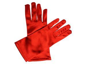 Red Wrist Length Satin Formal Evening Gloves