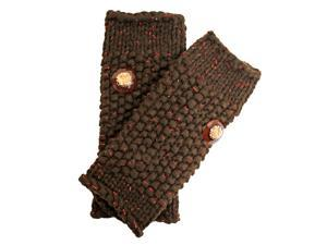 Brown Metallic Fingerless Arm Warmer Gloves