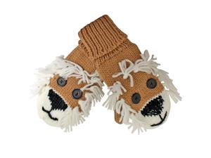 Brown Lion Animal Knit Mitten Gloves