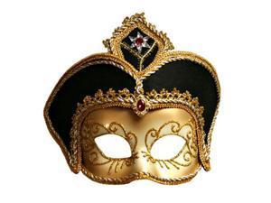 Elaborate Gold & Black Venetian Face Mask