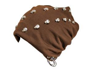Brown Slouchy Skull Studded Hat With Grommet Rings