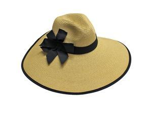 Tan Wide Brim Pinch Top Floppy Hat With Bow