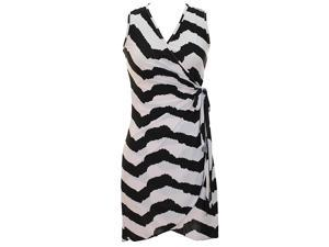 Black & White Jagged Striped Chevron Print Sleeveless Wrap Dress