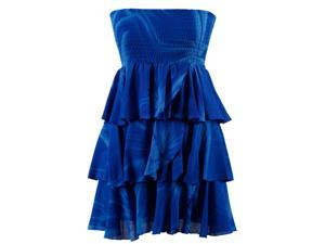 Royal Blue Tie Dyed Strapless Ruffled Casual Summer Dress
