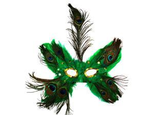 Green Butterfly Peacock Masquerade Feather Mask