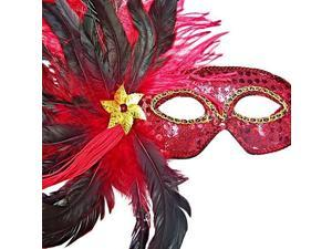 Vibrant Red Sequin Masquerade Feather Mask