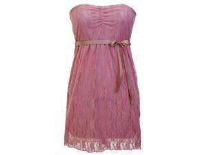 Pink Lace Strapless Junior Size Dress With Bow