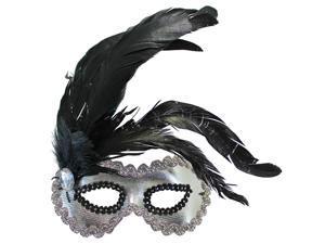 Silver Costume Venetian Eye Mask With Black Plume
