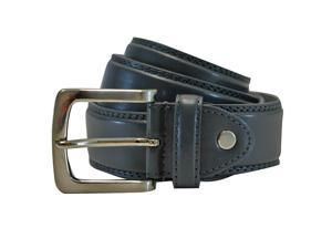 Men's Gray Leather Belt With Silver Buckle