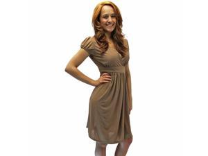 Taupe Simple Dress With Short Pinched Sleeves