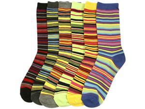 Multi Striped Colorful Bright Ladies 6 Pack Assorted Crew Socks