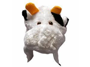 Fun White Cow Plush Animal Warm Winter Hat