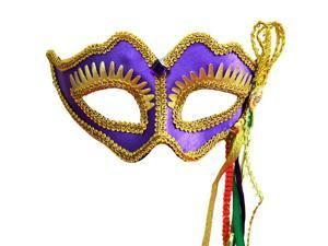 Purple & Gold Mardi Gras Face Mask With Handle