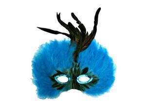 Vibrant Blue Feathered Mardi Gras Costume Eye Mask