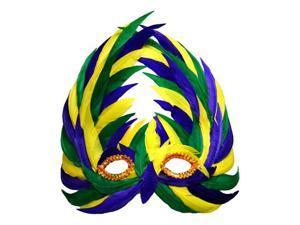Green Yellow Purple Feather Mardi Gras Eye Mask