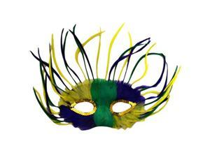 Wispy Yellow Green Purple Mardi Grass Feather Mask