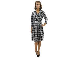 Black & White Houndstooth Knee Length Wrap Dress