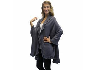Gray Ruffled Edge Knit Poncho Shawl