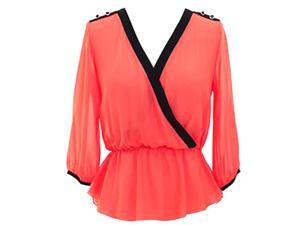 Coral Semi Sheer Long Sleeve Crepe Chiffon Blouse Top With Black Trim