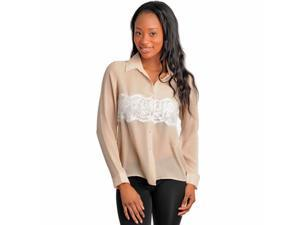 Sheer Beige Long Sleeve Button Down Blouse Top With Lace