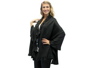 Black Ruffled Edge Knit Poncho Shawl