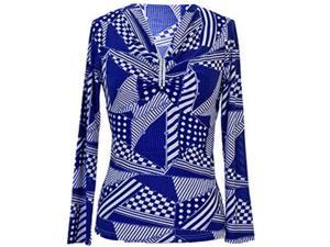 Blue & White Geometric Print Top With Crystal Rhinestone Broach