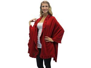 Red Ruffled Edge Knit Poncho Shawl
