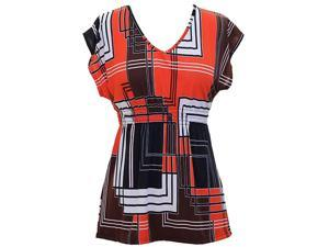 Orange Brown White Geometric Print Smocked Waist Short Sleeve Blouse Top