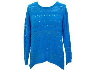 Deep Sky Blue Feminine Open Knit Long Sleeve Casual Sweater