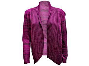 Magenta & Black Gradient Knit Long Sleeve Open Cardigan Sweater