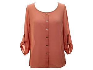 Pale Pink Crepe Chiffon Semi Sheer Blouse Top With Button Tab Sleeves
