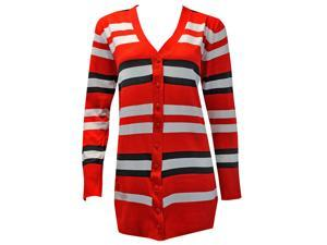 Black White & Red Striped Knit Long Sleeve Sweater