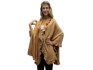 Camel Ruffled Edge Knit Poncho Shawl