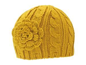 Mustard Yellow Cable Thick Beanie Hat With Rosette