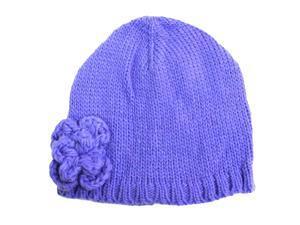 Purple Soft Knit Beanie Cap Hat With Rosette