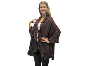 Brown Ruffled Edge Knit Poncho Shawl
