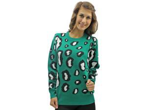 Green Leopard Print Round Neck Long Sleeve Sweater