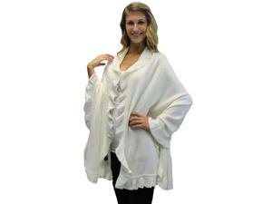 Ivory White Ruffled Edge Knit Poncho Shawl