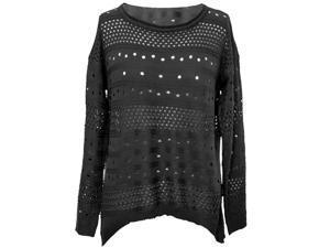 Black Feminine Open Knit Long Sleeve Casual Sweater
