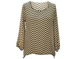 Light Beige & Black Chevron Stripe Hi Lo Lightweight Loose Cut Blouse