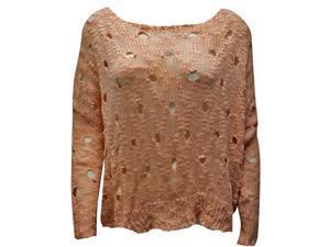 Light Pink Long Sleeve Cut-Out Open Crochet Knit High-Low Sweater