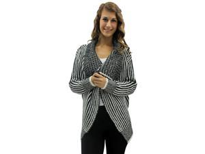 Striped Black & White Braid Open Front Sweater Top