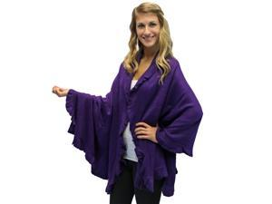Purple Ruffled Edge Knit Poncho Shawl