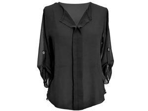 Black 3/4 Sleeve Semi Sheer Chiffon Blouse Top